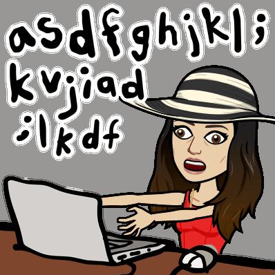 Illustrasjon bitmoji frustrert kvinne skriver CV