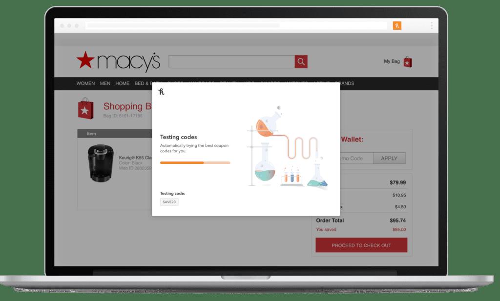 Ilustrasjon av tjenestene Honey som samler inn og analyserer rabattkoder til ulike nettbutikker