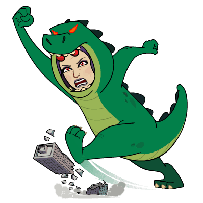 Kvinne i dinosaurkostyme er sint og ødelegger et bygg