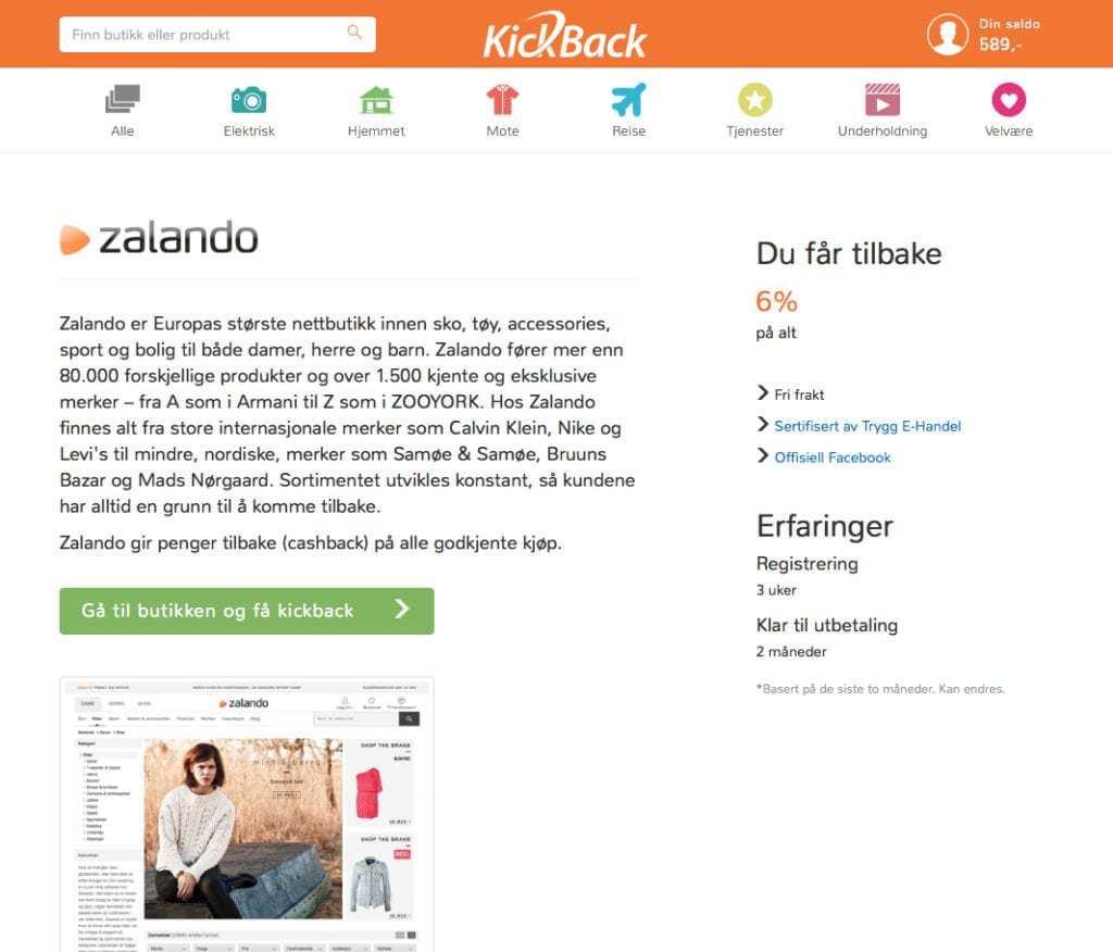 Skjermdump fra nettsiden Kickback som forteller om rabattnivået hos nettbutikken Zalando.