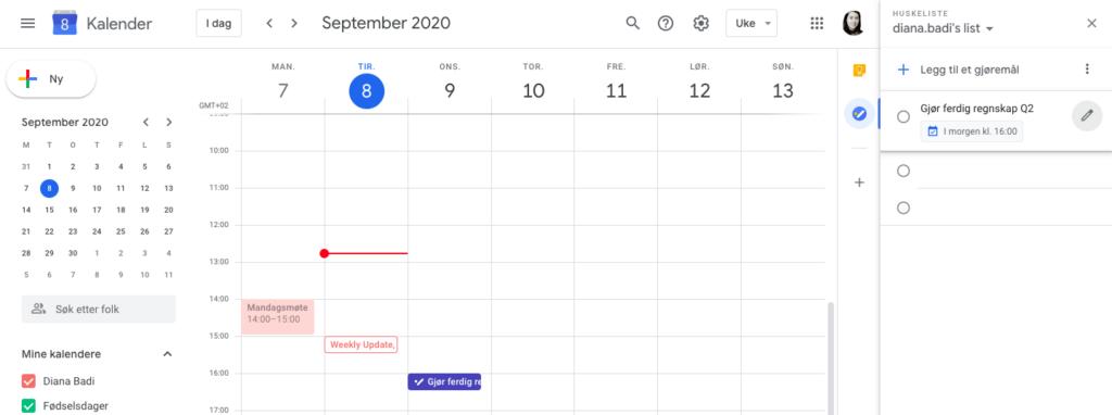 Skjermbildet av Googles kalender med gjøremålliste